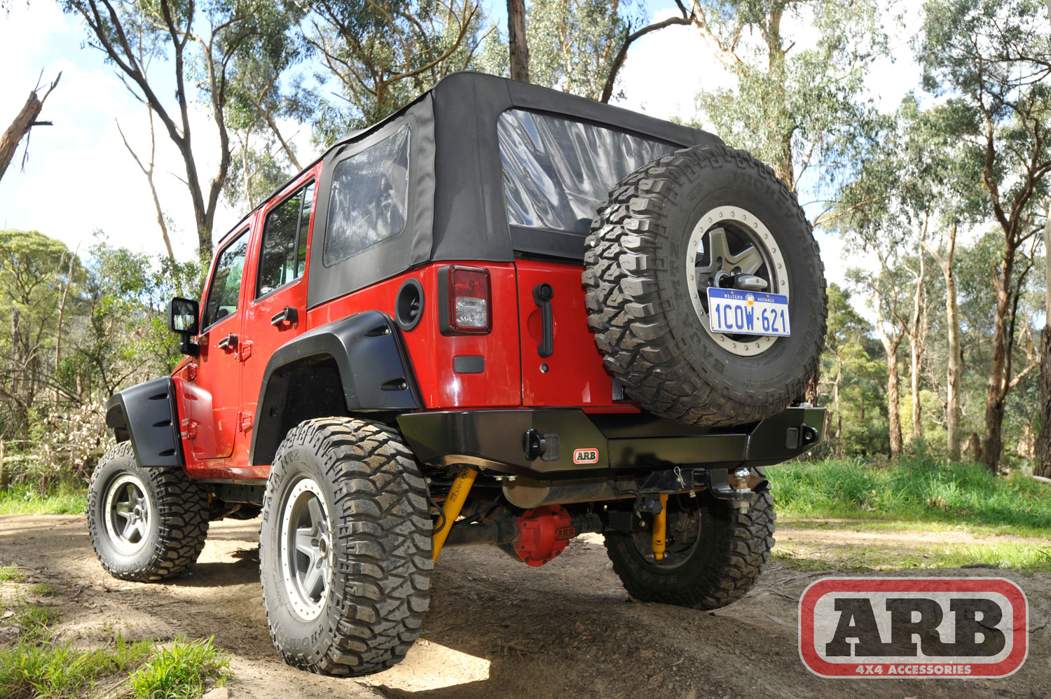 Rear Bumper With Tyre Carrier Option Arb 5650360 Jeepey Jeep White Sahara Lifted Tire And Led Tail Lights Jm 02594